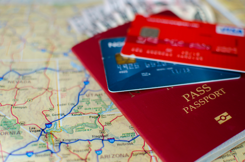 Passport, credit cards and a map.