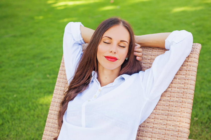 Woman Relaxing in a Lounger