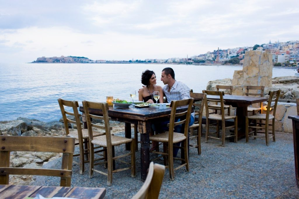 Couple Eating by the Sea